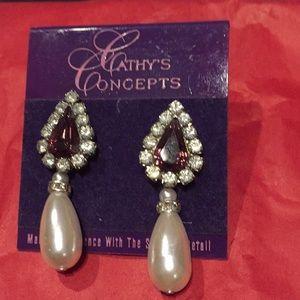 Pearl crystal & rhinestone bridal earrings